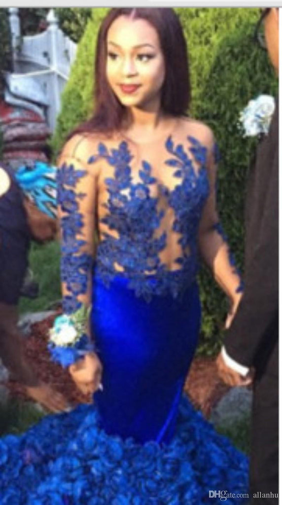 Blue Prom Dresses,Ruffles Prom Dresses,Long Evening Dress