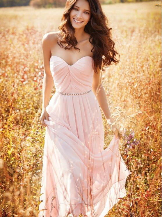 A-Line Pink Chiffon Sweetheart Prom Dresses,Prom Dress