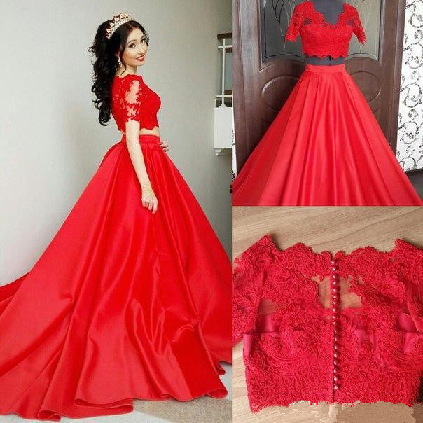 Short Sleeve Prom Dresses,Lace Prom Dresses,Long Evening Dress