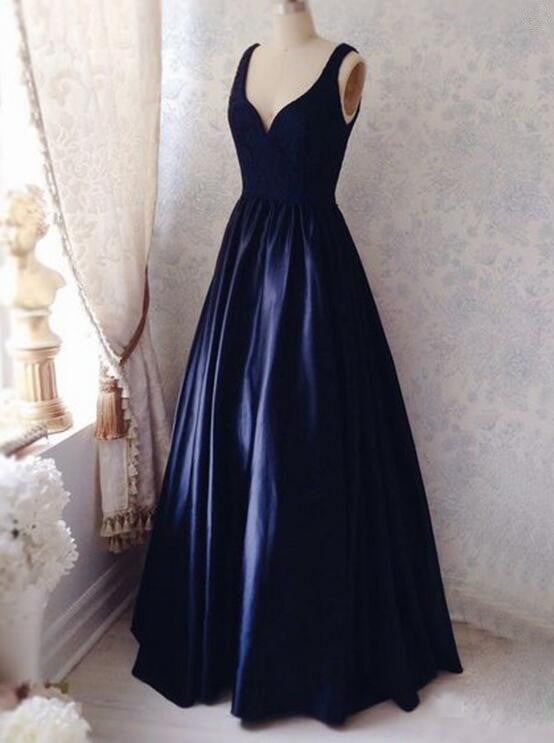 A-Line Dark Navy Sleeveless Prom Dresses,Prom Dress