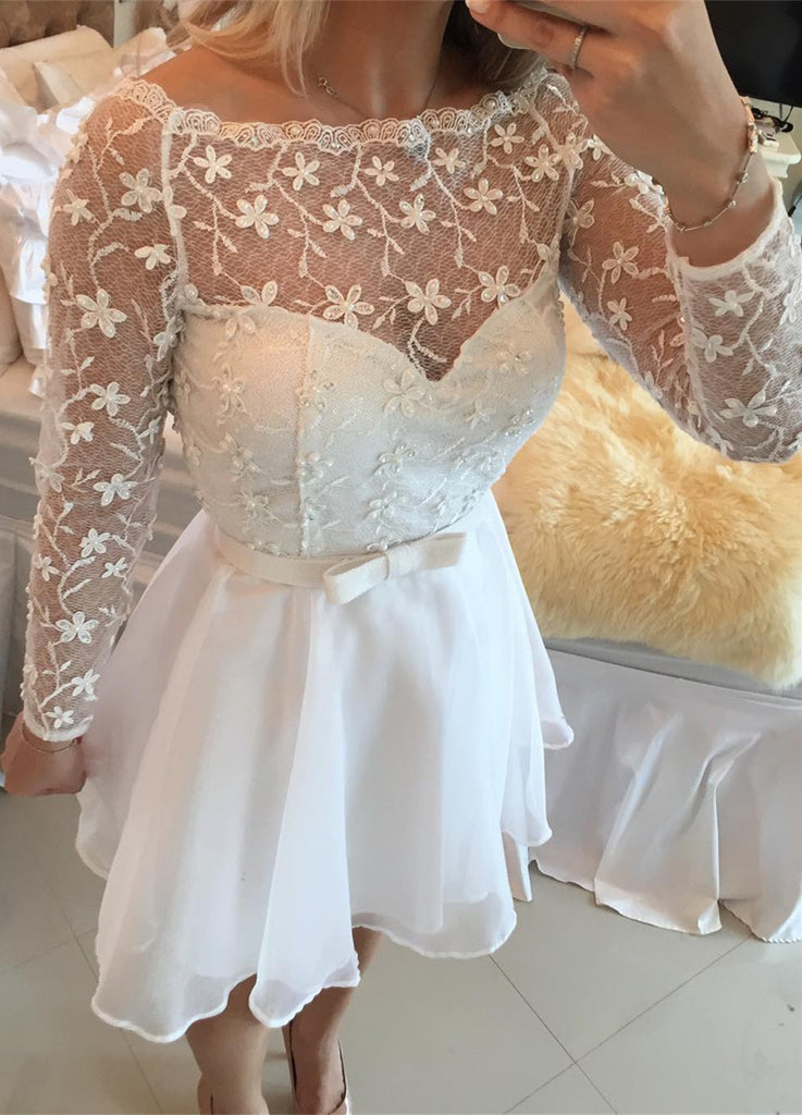 White  Long Sleeves Lace Homecoming Dress,Sweet Bowknot Homecoming Dress,Homecoming Dresses