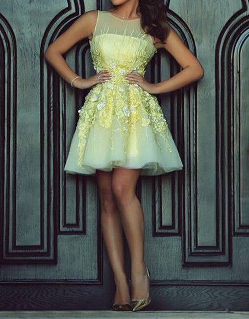 Yellow Lace Flowers Homecoming Dresses,Sweetheart Mini Homecoming Dresses