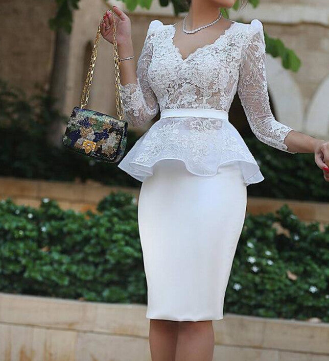 White Sheath Homecoming Dress,Lace Long Sleeves V-neck Homecoming Dresses