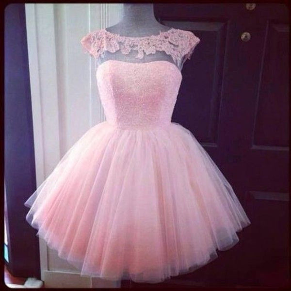 Pink Lace Capped Sleeves Chiffon Homecoming Dress,Short Prom Dress