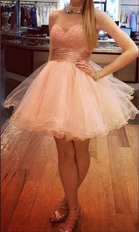 High Neck Lace Homecoming Dress,Pink Sweerheart Chiffon Homecoming Dresses