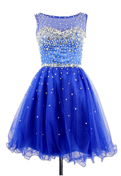 Blue Chiffon Homecoming Dress,Sleevesless Crystals Homecoming Dresses