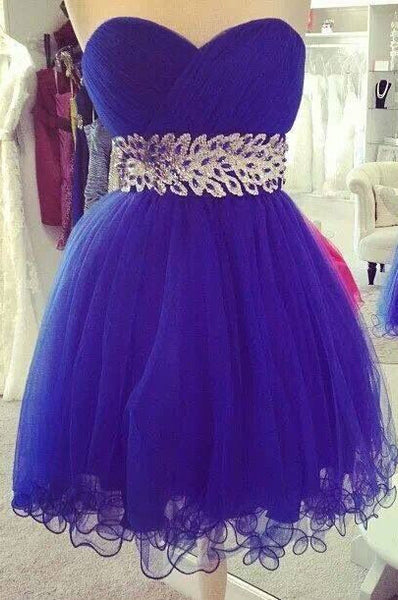 Purple Chiffon Belt Strapless Homecoming Dress,Short Prom Dress