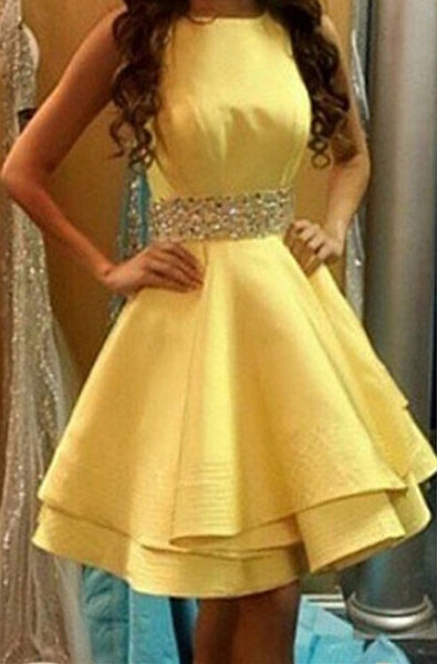 Yellow Satin Homecoming Dress,Criss-CrossChiffon Homecoming Dresses With Crystals