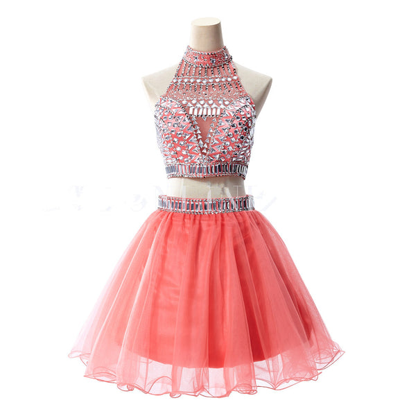 Pink Two Pieces Homecoming Dress,Backless Chiffon Homecoming Dress With Crystals
