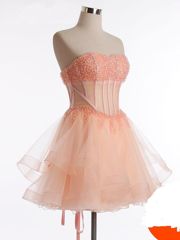 Crystals Strapless Mini Chiffon Homecoming Dress,Short Prom Dress