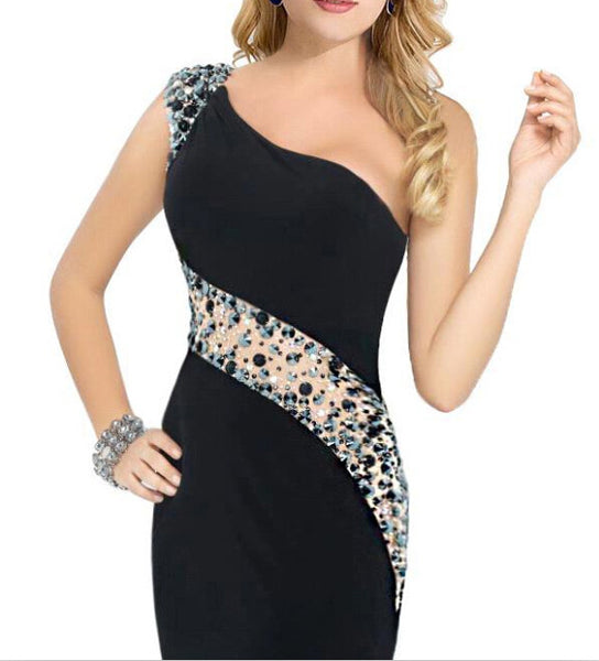 Black One Shoulder  Homecoming Dresses,Crystals  Homecoming Dresses,Homecoming Dress