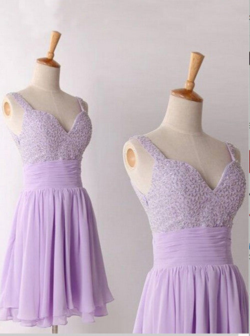 Homecoming Dress,Lavender Spaghetti Chiffon Beadings Short Prom Dress