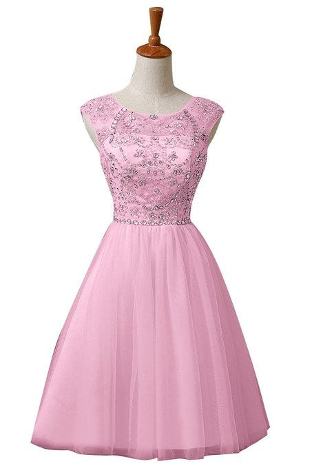 Pink Chiffon Homecoming Dress,Homecoming Dress With Sequins,Sweet Homecoming Dresses