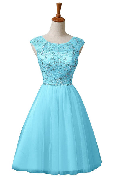 Blue Chiffon Homecoming Dress,Homecoming Dress With Sequins,Sweet Homecoming Dresses