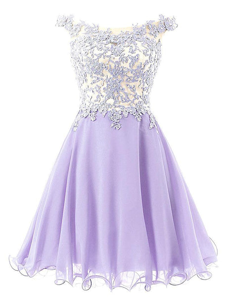 Lavender Off Shoulder Homecoming Dress,Chiffon Homecoming Dress With Applique