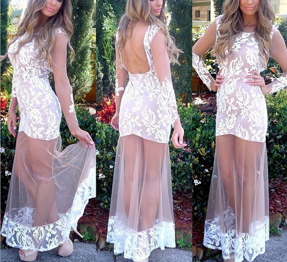 Long Sleeve Prom Dresses,White Prom Dress,Long Evening Dress