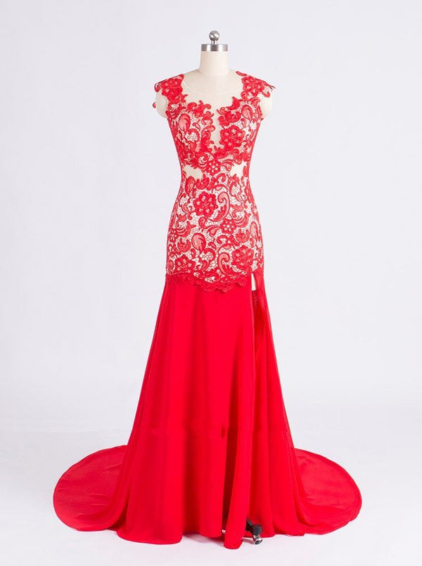 Red Prom Dresses,A-Line Prom Dresses,Long Evening Dress