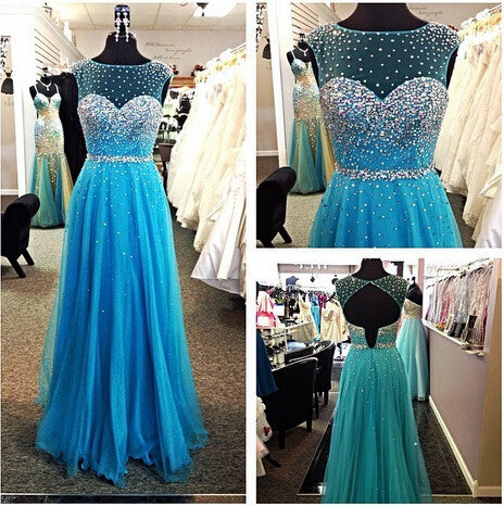Sleeveless Prom Dresses, Blue Prom Dresses, Long Evening Dress