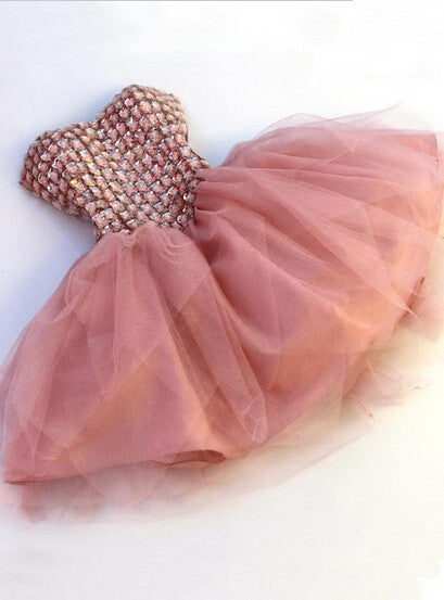 Homecoming Dress,Strapless Pink Crystals Beading Chiffon Short Prom Dress
