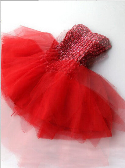 Homecoming Dress,Strapless Red Crystals Beading Chiffon Short Prom Dress
