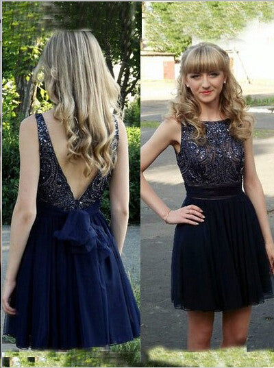 Homecoming Dress,Gorgeous A-line Scoop Backless Navy Short Prom Dress
