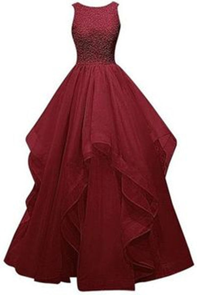 A-Line Burgundy Sleeveless Prom Dresses,Prom Dress