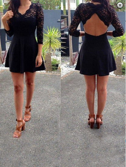 Homecoming Dress,3/4 Sleeves Black Satin Backless Short Prom Dress