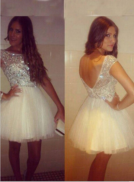 Homecoming Dress,Scoop A-line White Beading Capped Short Prom Dress