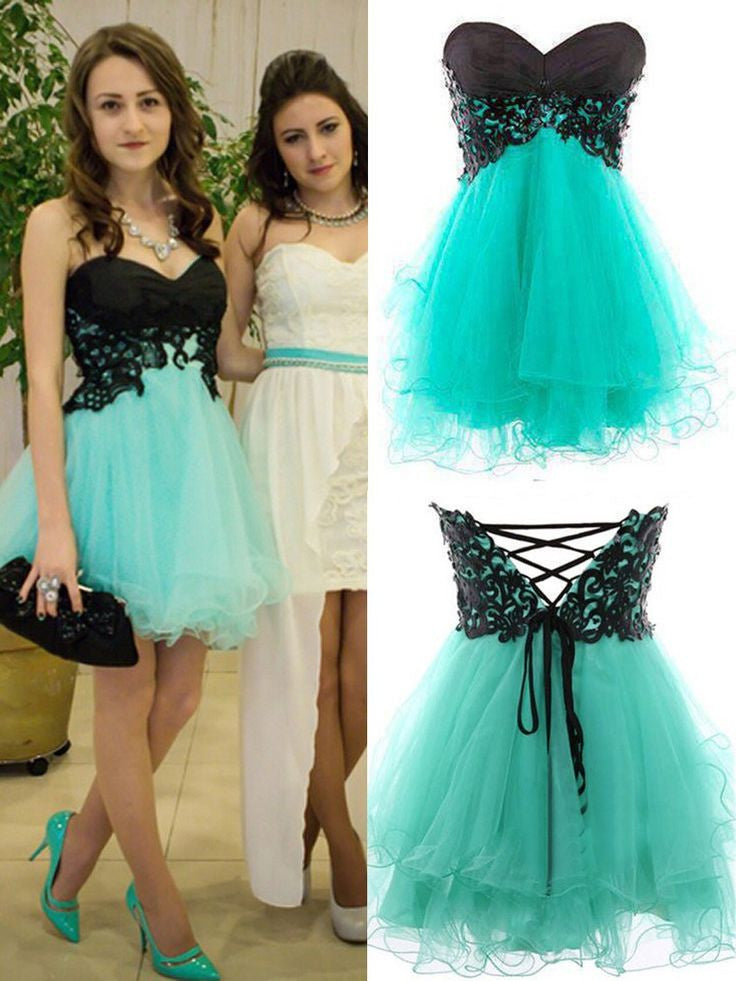 Homecoming Dress,Black Green Chiffon Strapless Short Prom Dress