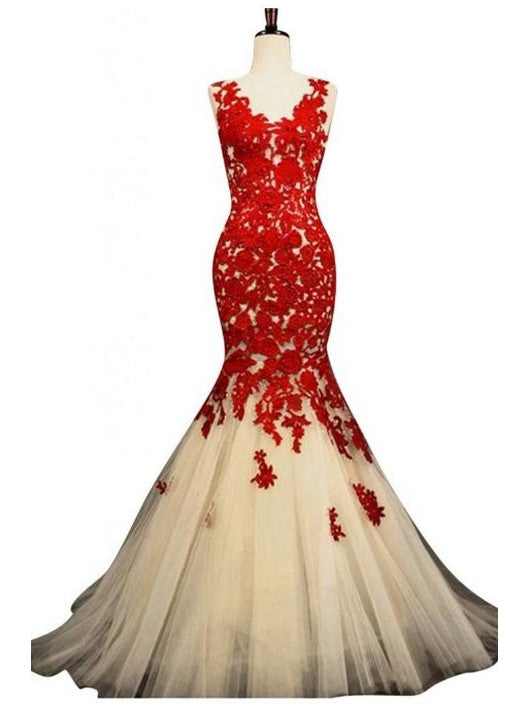 Long Red Prom dresses, Red Lace Straps Chiffon Mermaid Long Prom Dress
