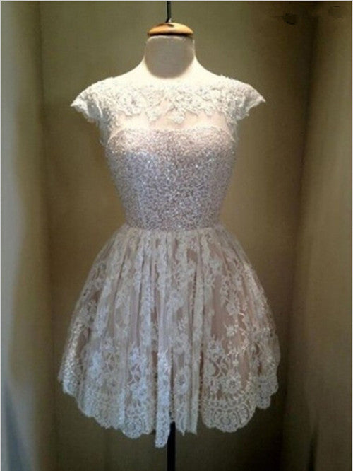 Homecoming Dress,White Lace Sweetheart Beadings Short Prom Dress