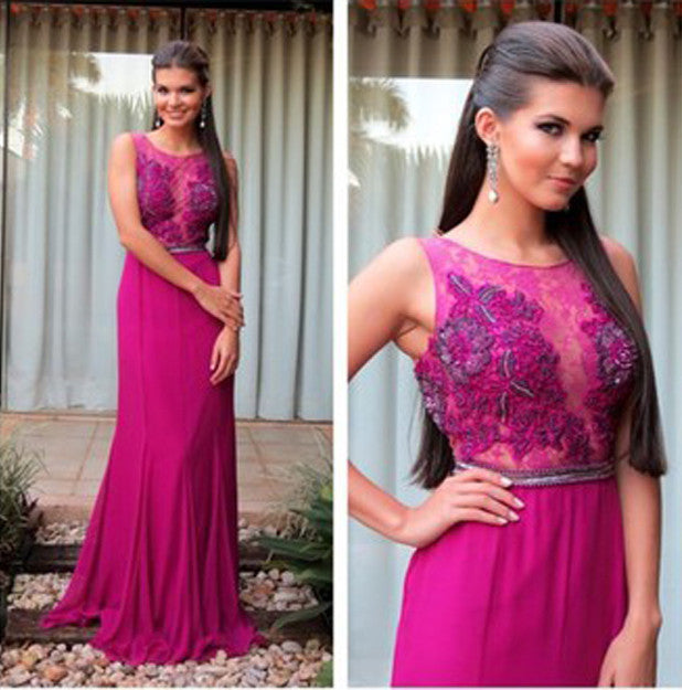 Sleeveless Prom Dresses,Hot Pink Prom Dress,Long Evening Dress