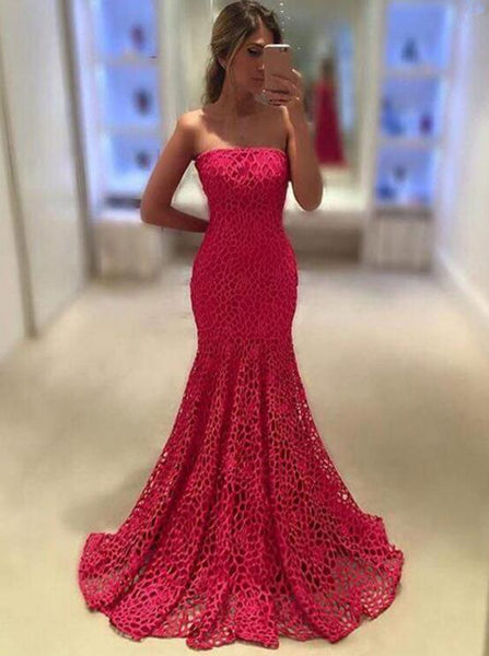 Strapless Mermaid Floor Length Prom Dresses,Prom Dress