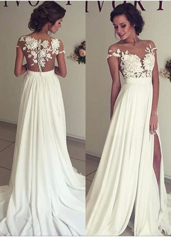 Short Sleeve Lace Chiffon Prom Dresses,Prom Dress