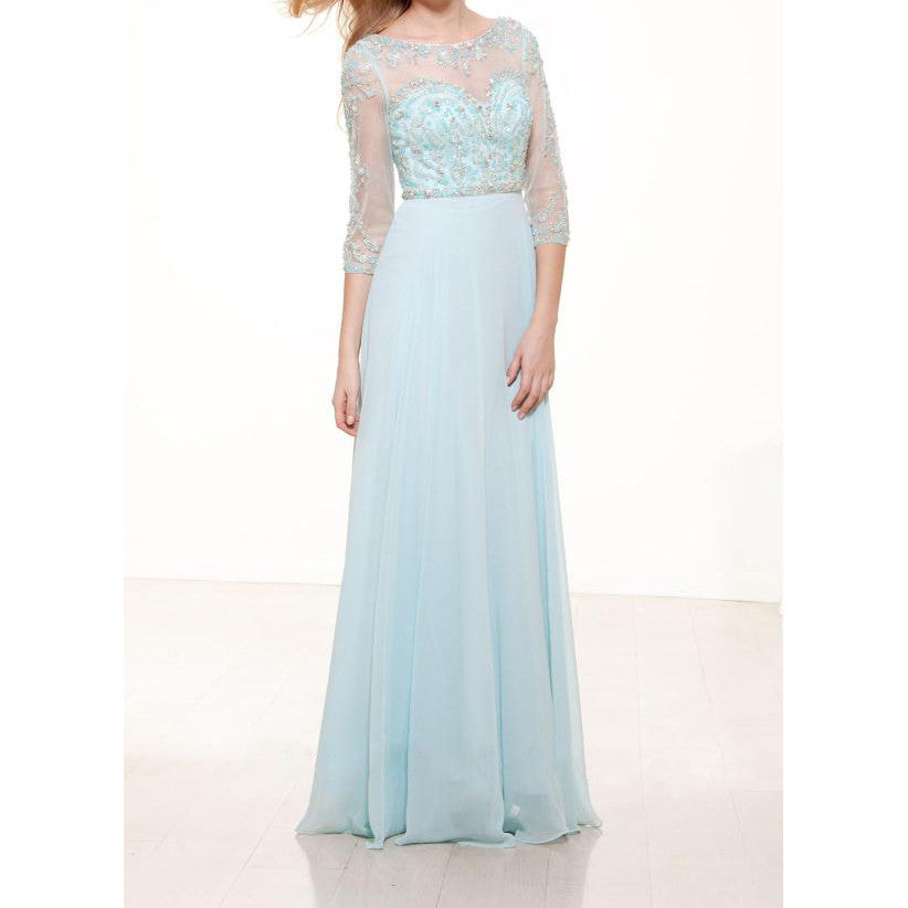 3/4 Sleeves Prom Dresses,Light Blue Prom Dresses,Long Evening Dress