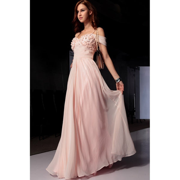 Off Shoulder A-Line Pink Prom Dresses,Prom Dress