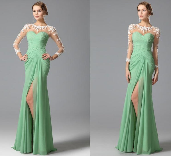 Long Sleeve Green Chiffon Prom Dresses,Prom Dress