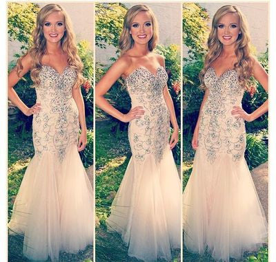 Mermaid Prom Dress,Champagne Prom Dress,Long Evening Dresses