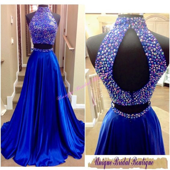High Neck Prom Dresses,Royal Blue Prom Dress,Long Evening Dress