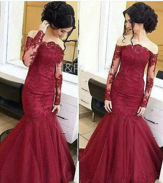 Long Sleeve Mermaid Lace Prom Dresses,Prom Dress