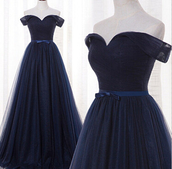 Off Shoulder Navy Blue Prom Dresses,Prom Dress