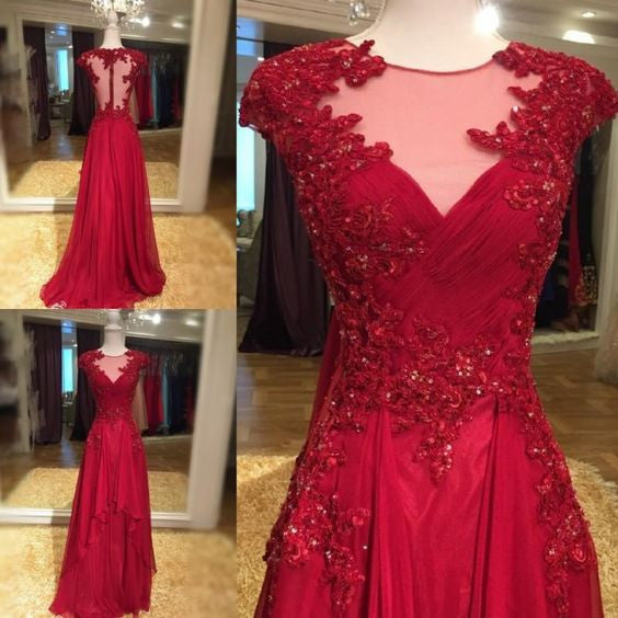 Cap Sleeve A-Line Red Prom Dresses,Prom Dress