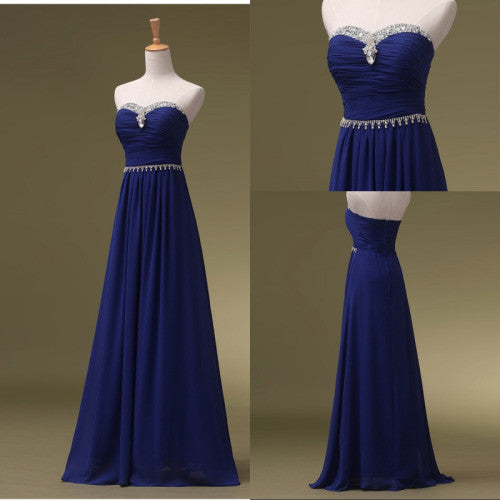 Sweetheart Prom Dresses,Royal Blue Prom Dresses,Long Evening Dress