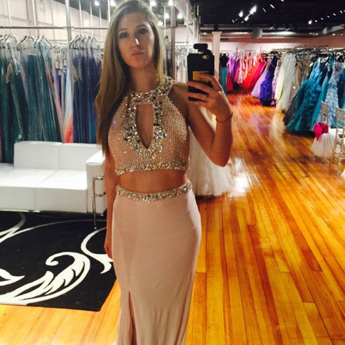 Two Piece  Prom Dresses,Halter Prom Dresses,Long Evening Dress