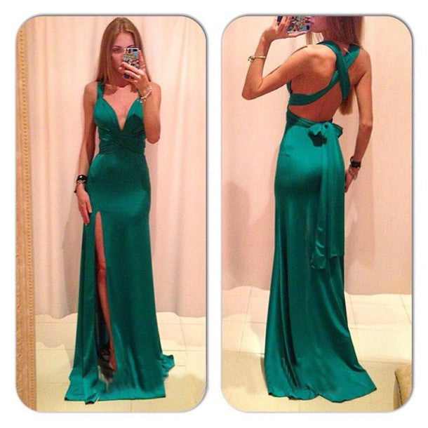 Open Back Prom Dresses,Green Prom Dresses,Long Evening Dress