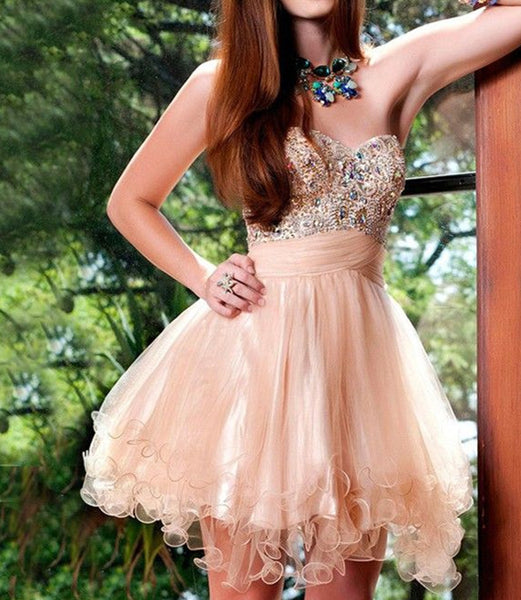 Short Prom Dresses,Champagne Prom Dresses, Evening Dress