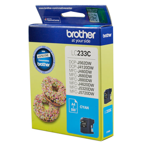 Brother LC-233C Cyan High Yield Ink (~550 pages)