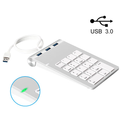 Numeric Keypad (Wired USB) with 3x USB 3.0 Hub in Apple Style