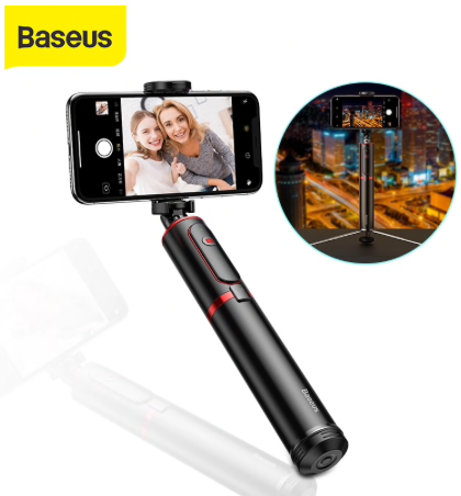 Baseus Bluetooth Selfie Stick Tripod (Black/Red) Wireless