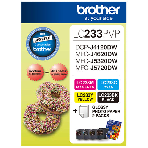 Brother Ink LC233PVP 4-pack & 40x Photo Paper (B/C/M/Y)
